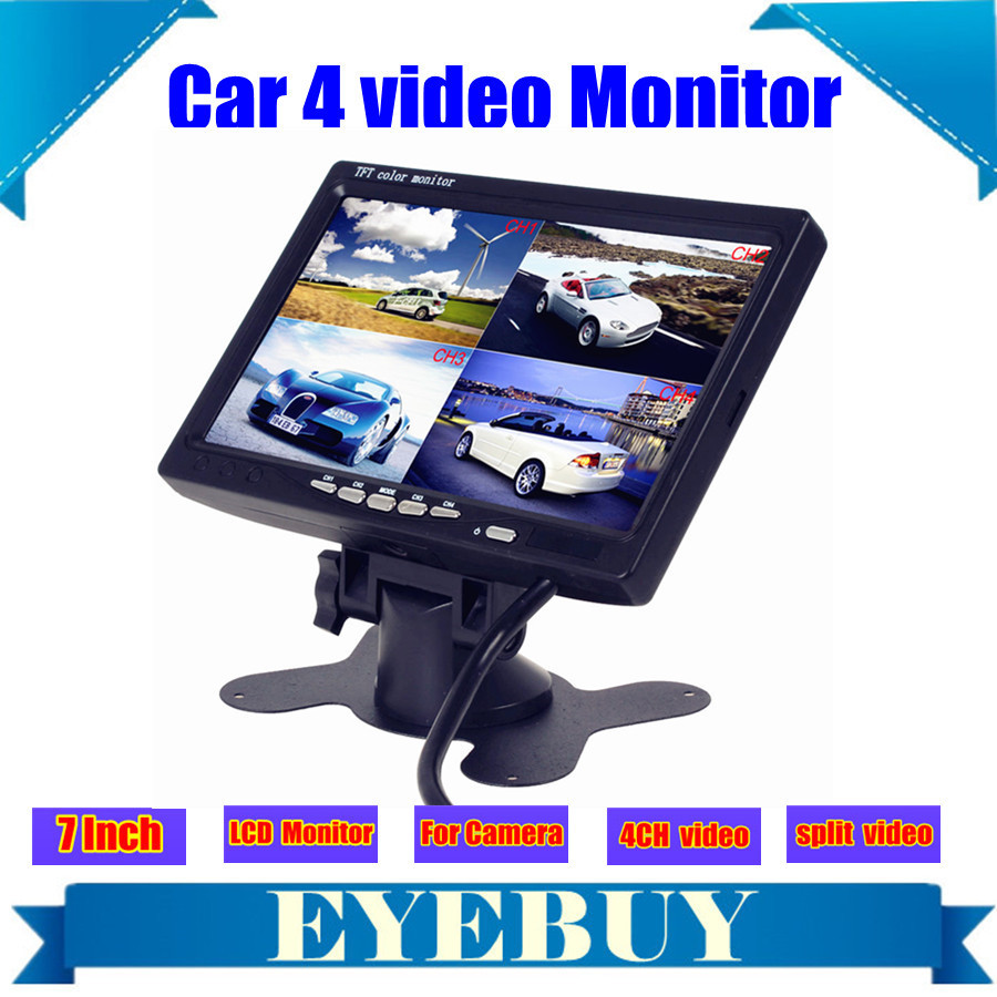 7 Inch car Auto lcd headrest camera monitor 4 Split Quad display screen w Car Video