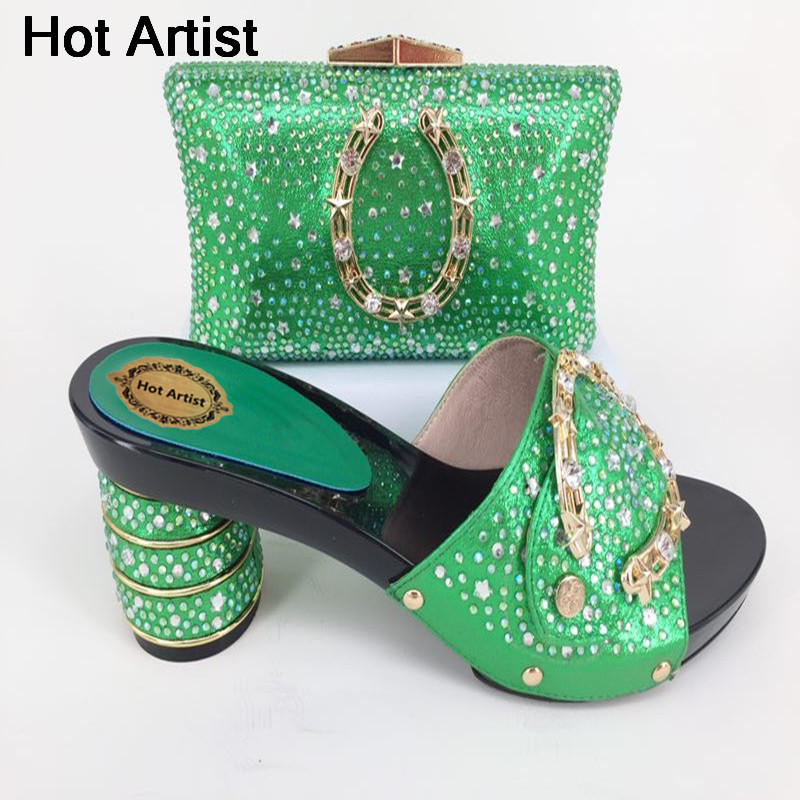 Hot Artist High Quality Rhinestone Shoes And Bag Set African Style Ladies High Heels Shoes And Bag Set For Party Dress YK-203 цена