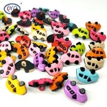 HL 30/50/100pcs 17MMx11MM Shank Car Plastic Buttons Mix Colors Childrens Garment Sewing Accessories DIY Scrapbooking Crafts