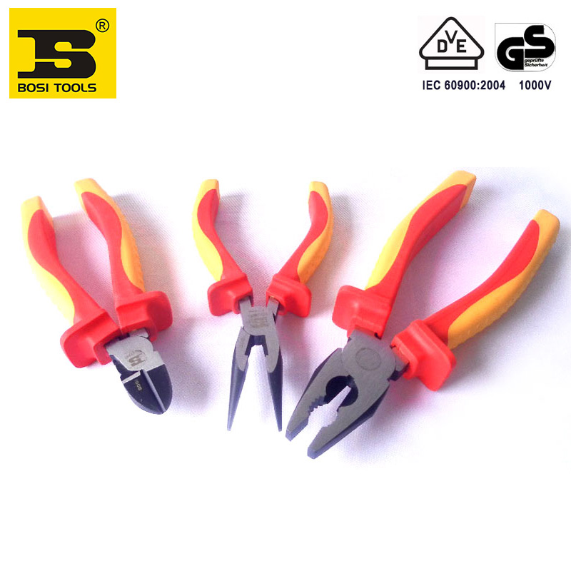 free shipping BOSI 3pc mixed VDE insulation withstand voltage electrician cutting pliers set free shipping bosi 15 in 1 electrician tools set household tool set