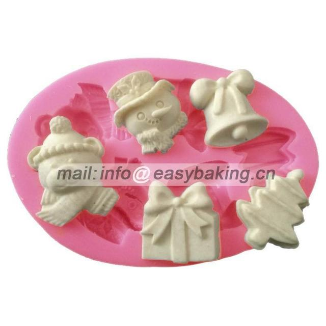 fondant cake decorating tools christmas silicone mold christmas tree bell gift candy chocolate soap mold