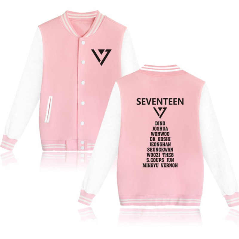K поп K-POP Поп семнадцать 17 Для женщин толстовки с длинными рукавами Бейсбол форменная куртка Женский Колледж Курточка бомбер