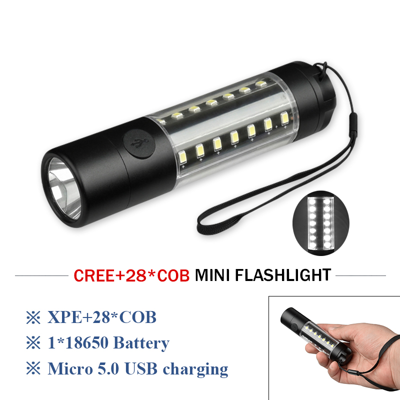 28 led flash light mini portable USB flashlight COB torch lanterna waterproof linterna led camping light rechargeable battery