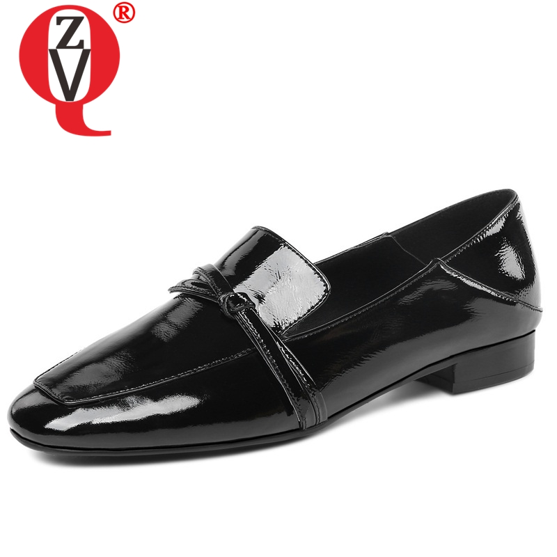 ZVQ women shoes 2019 new style fashion patent leather flats square toe butterfly knot slip on