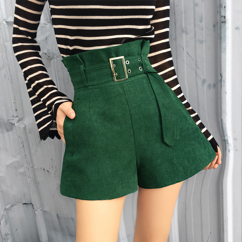 MUMUZI high waist wide leg   shorts   with free belt women high street casual slim   shorts   fashion green   short   trousers 2018 2XL size