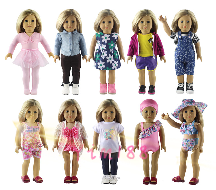New Style 10 Set Doll Clothes for 18 Inch American Girl Handsome Casual Wear american girl doll clothes elegant color flower print long dress doll clothes for 18 american girl best gift 5 colors d 2