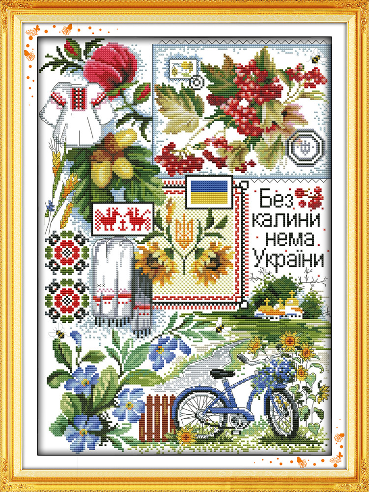 Joy Sunday Field scenery DMC Counted Chinese Cross Stitch Kits printed Cross-stitch set Embroidery Needlework image