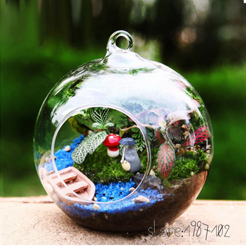 1 шт. мода прозрачный Стекло круглый Террариум цветок РП висит ваза гидропоники Офис Свадьба Декор сада