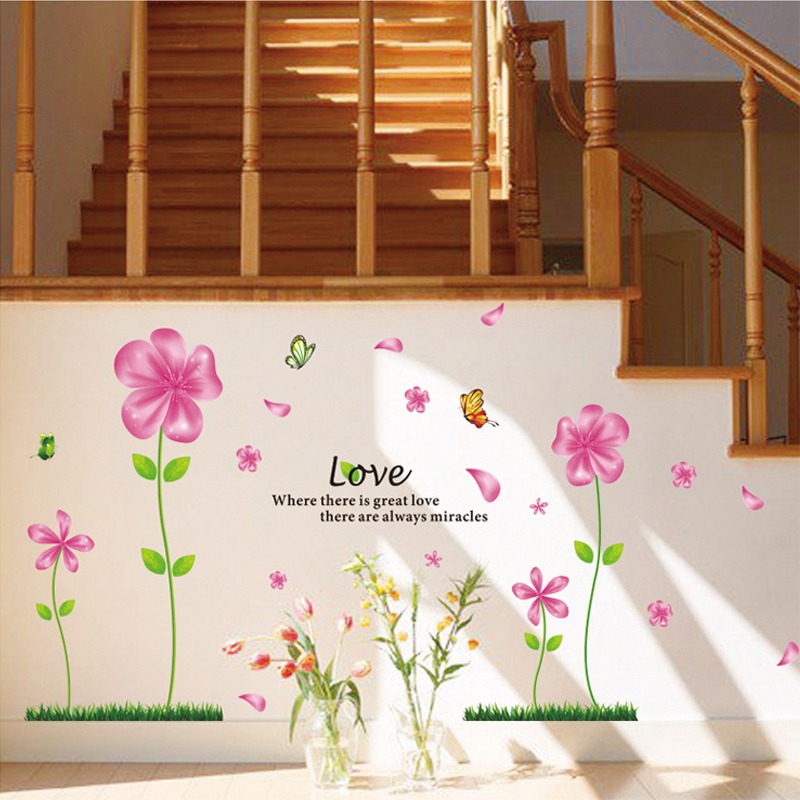 3D wallpaper red flower dance fragrance romantic girl room decoration wall stickers living room bedroom TV background Murals