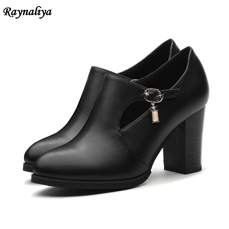 Women Boots New Sexy Pointed Toe Platform Shoes Woman Thick High Heels Autumn Ankle Boots Red Black Ladies Shoes LSN-B0067