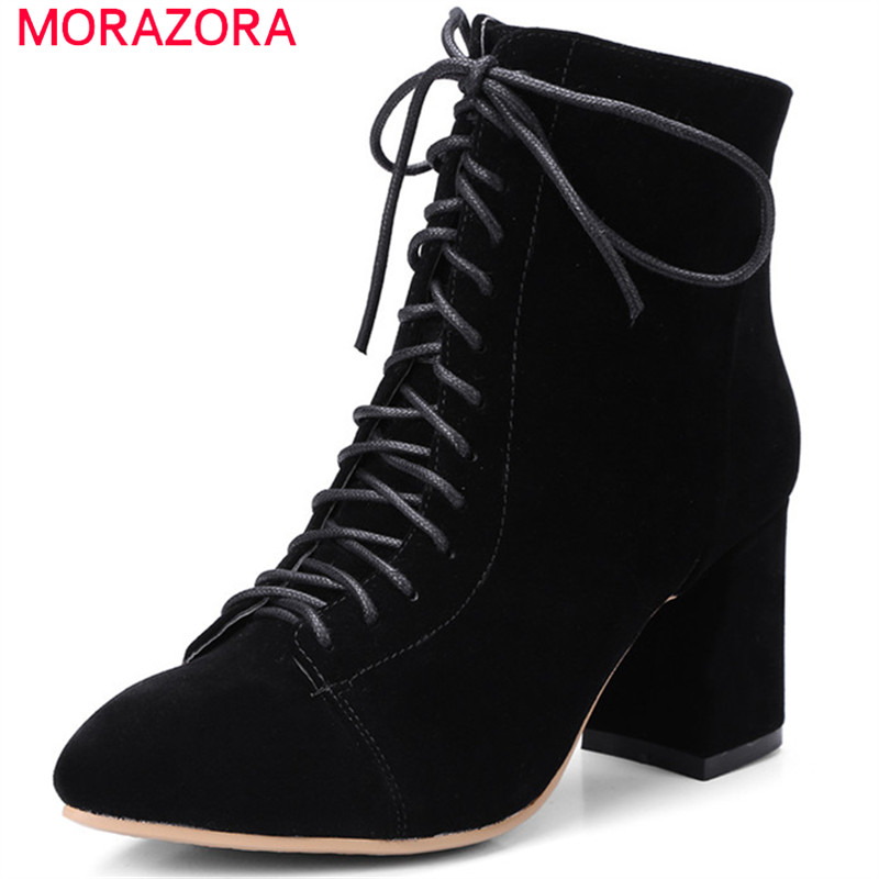 MORAZORA High heels shoes woman fashion boots female in spring autumn ankle boots for women pointed toe zip solid size 34-42 morazora knee high boots woman fashion punk women shoes spring autumn boots pu solid zip med heels shoes big size 34 42