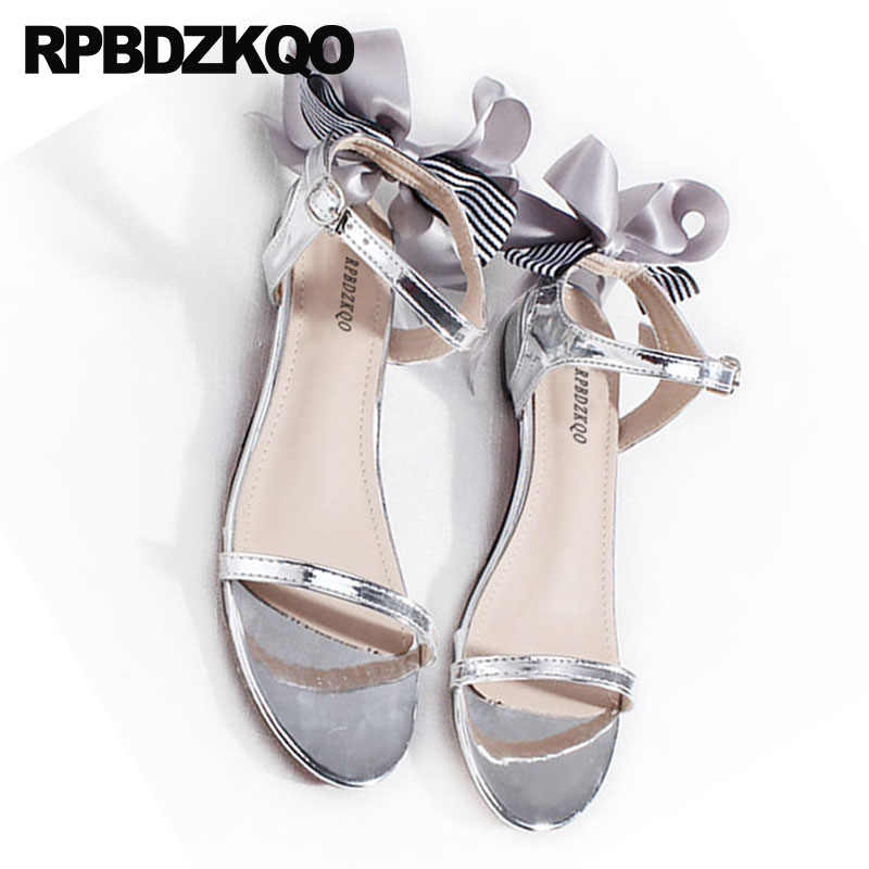 8895675a4bc7b7 ... Bow Double Strap Sandals 2018 Pumps Cute Casual Gold Block Low Heel  Women Silver Thick Shoes ...