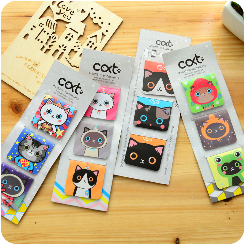 3pc/pack Cute Lovely Cat Magnetic Bookmark Marker of Page Student Stationery Promotion Gift School Office Supply effiel tower magnetic bookmark paris tower magnetic bookmarks for books magnetic clips page marker