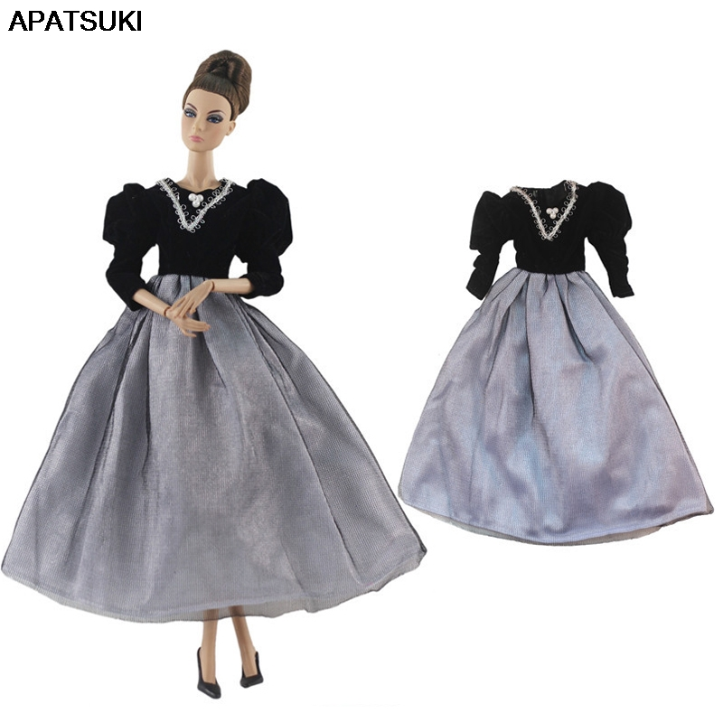 Black Gray Fashion Doll Clothes For Barbie Doll Princess Gown 1/6 Doll Accessories Party Dress For Barbie Doll Outfits Kids Toy