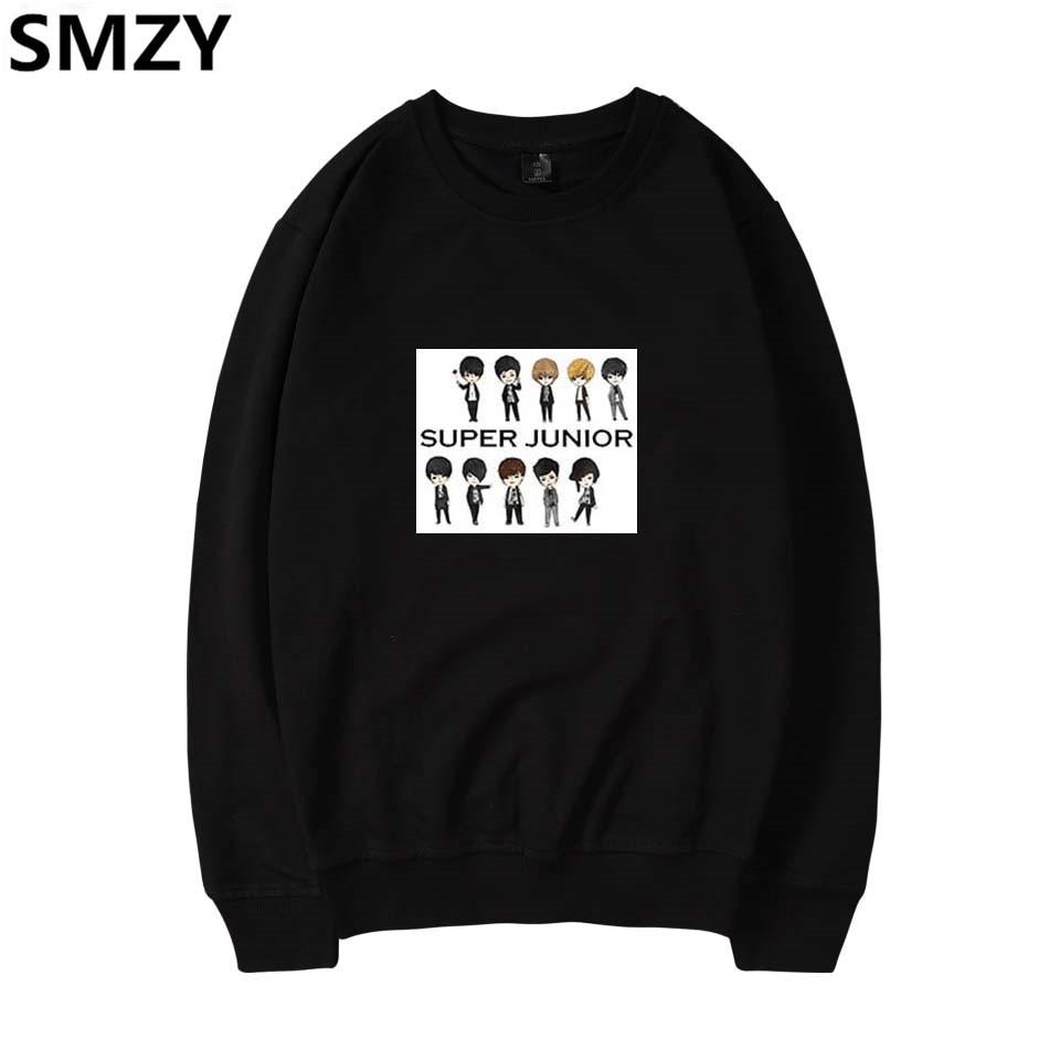 SMZY Super Junior Capless Long Hoodie Sweatshirt Women Winter Korea Pop Hip Hop Hoodies Women Cotton Fashion Kpop Fans Clother