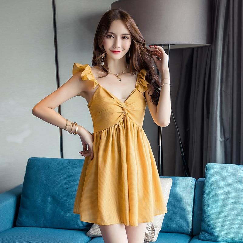 Summer Dress V Neck Vintage Vestidos De Fiesta 2019 Korean Yellow Dresses Verano