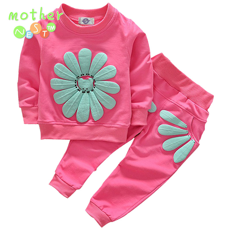 Girls Clothing Sets Summer 2017 New Kids Clothes Girls Sunflower Print Outfits t-shirt+pants 2pcs suit Children Clothing Sets