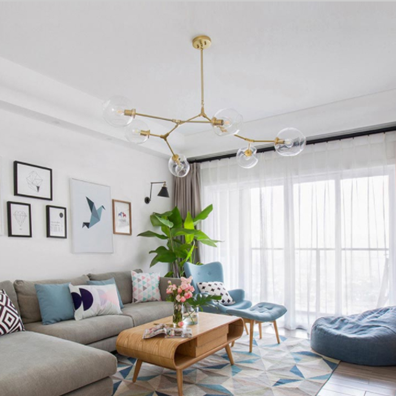 Lindsey Adelman Glasses Hanging Lights Branch Rotate Luxury Pendant Lamp Globe Bubble Decorative Fashion Living Room Restaurant