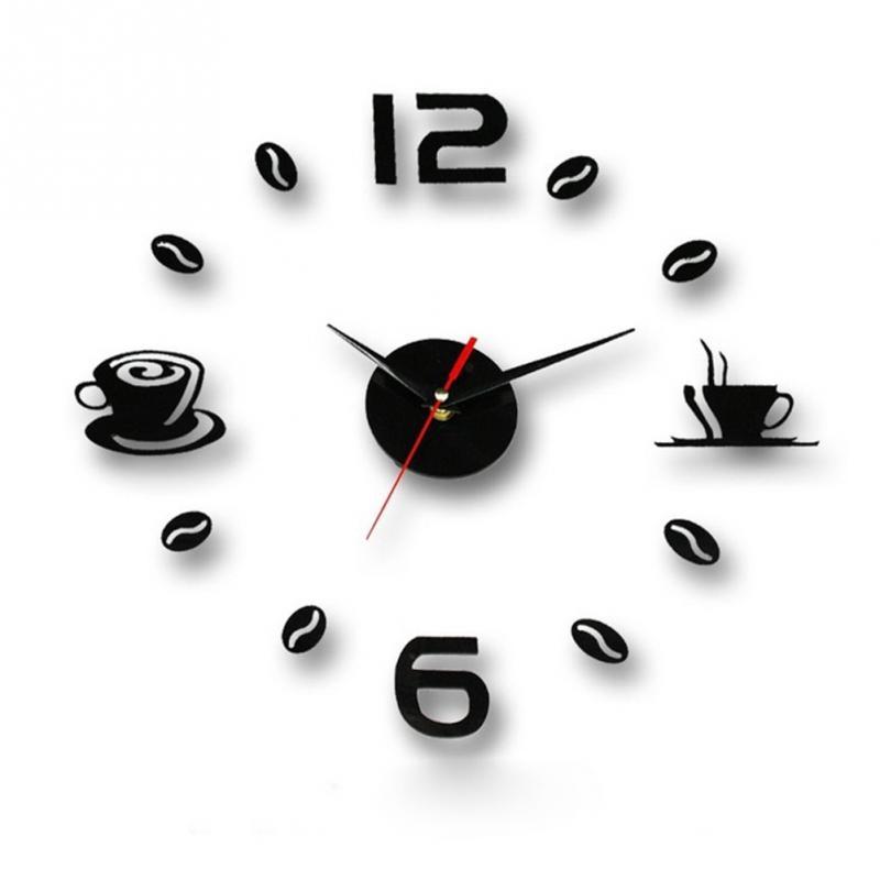 Coffee Cups Kitchen Wall Art 3d Diy Wall Clocks Mirror Clock Modern Design Watches Home Decoration DIY Sticker Decor