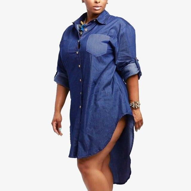 Свадебные платья 2016 Осень Мода Женщины Джинсовый Платье Дамы Vintage Нагрудные Нерегулярные Хем Джинсы Длинные Блузка Случайные Свободные Рубашки Плюс Размер