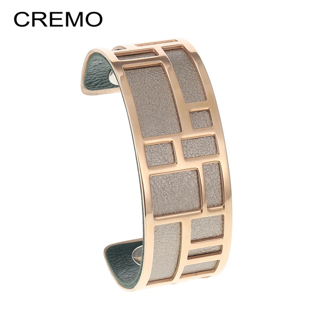 Cremo Labyrinth Cuff Bangles Femme Bijoux Manchette Cocktail Bangle 14mm Wide Leather Band Layering Stainless Steel Bracelet