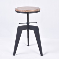 Bar Chair Swivel Kitchen Dining Chair Industrial Furniture Style Bar Stool Natural Pine Wood Top Height Adjustable