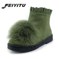 feiyitu Winter new flock women ankle boots real fox fur shoes woman low heel soft shoes side zip ladies ruffles boots size 34 44