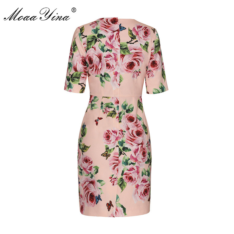 MoaaYina 2018 Fashion Designer Runway Dress Summer Women Short sleeve V collar Rose Floral Print Casual Holiday Elegant Dress-in Dresses from Women's Clothing    2