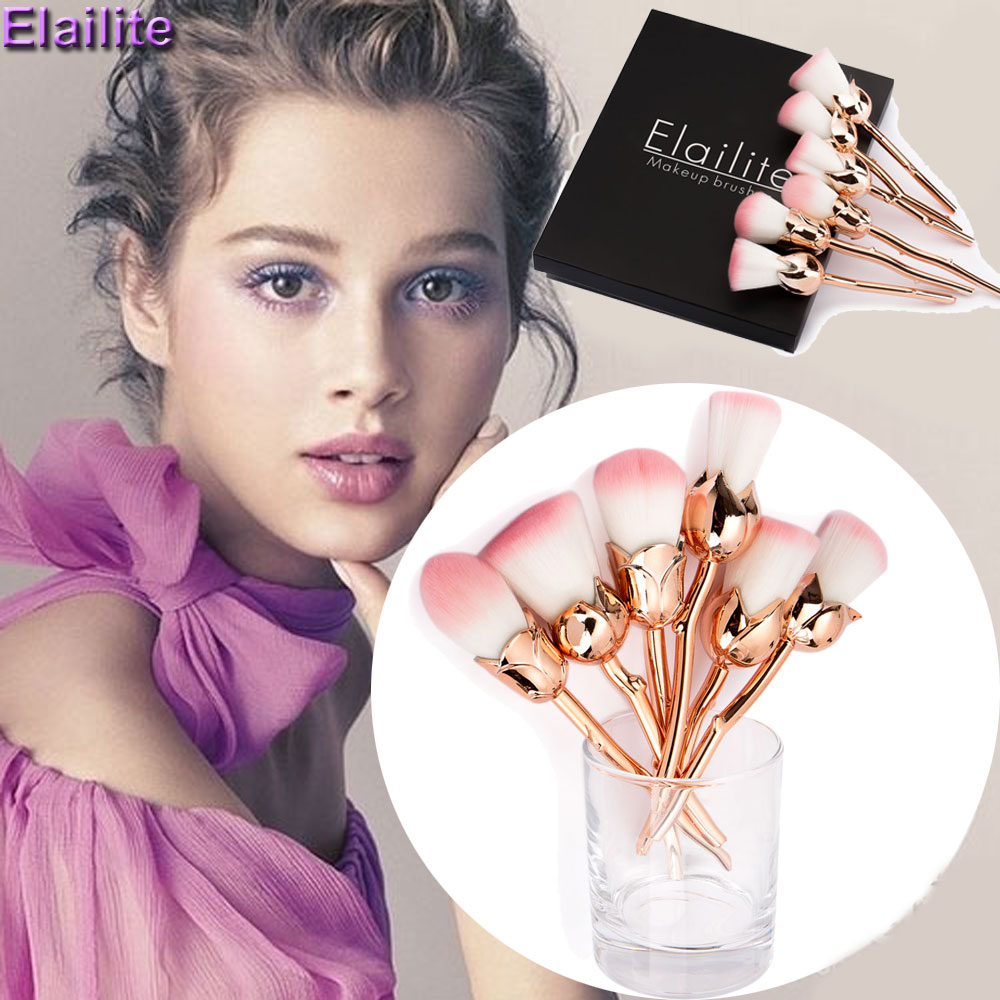Elailite New Design 6pcs Rose Shaped Makeup Brushes Foundation Powder Make Up Brushes Blush Brush Set Green/Red Pincel Maquiagem