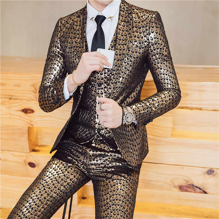 Роскошный костюм в стиле барокко; цвет золотистый, синий; смокинг; пиджак + жилет + брюки; Homme; костюм; Mariage Homme; вечерние костюмы на свадьбу; одежда для сцены; 3XL