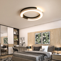 Black White Ceiling Chandelier for Bedroom Living room Hallway Lustre Round Chandelier with remote Dimmable Modern Chandelier