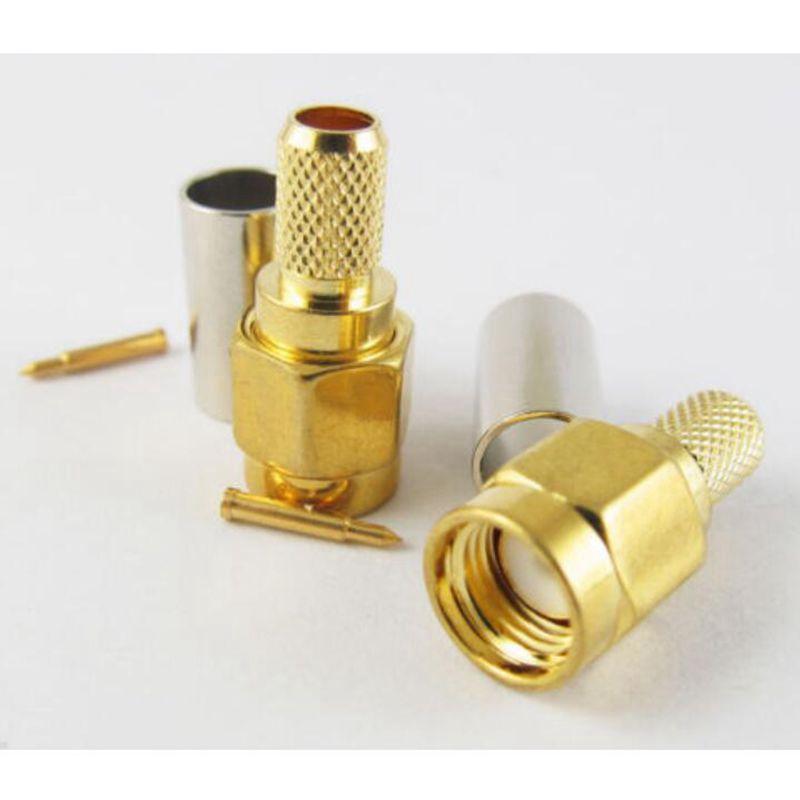 Free shipping SMA Male Plug Straight Crimp for RG58 RG142 RG223 RG400 LMR195 RF Connector