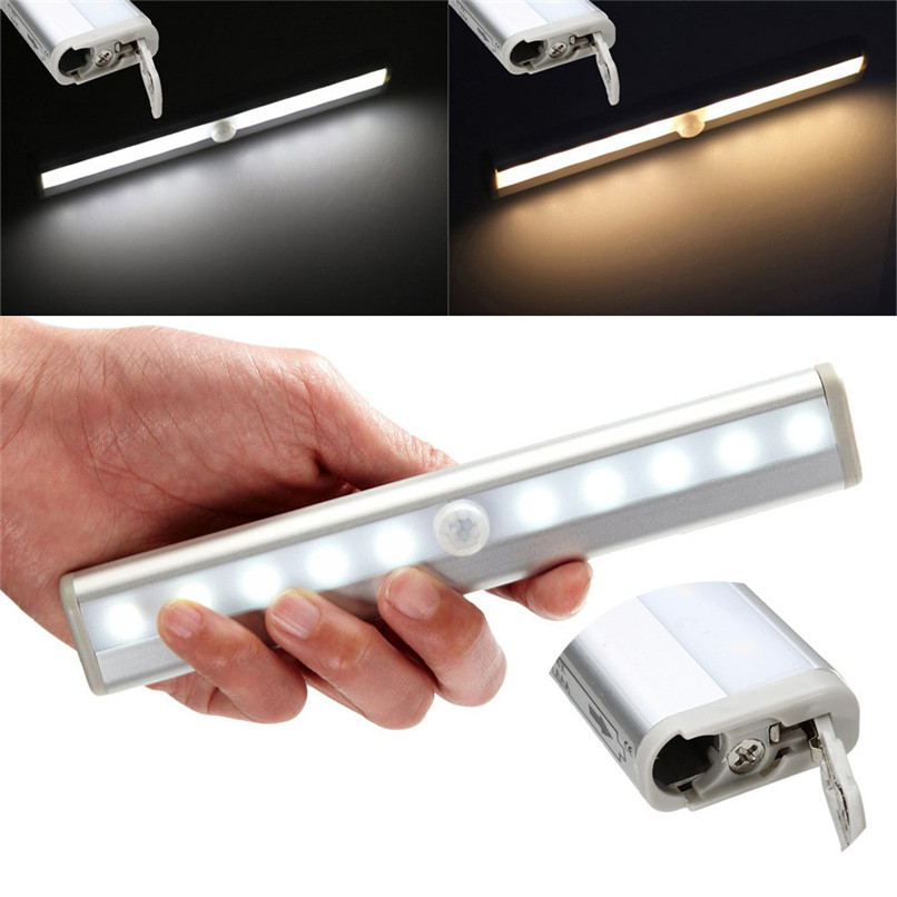 10 LED Wireless PIR Auto Motion Sensor Light Intelligent Portable infrared Induction Lamp Night Lights for Cabinet Hotel H1TY0
