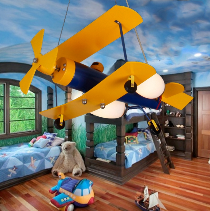 Children Room Light Lamp Boys Lighting Chandelier Girl Aircraft Plane Pendant Bedroom Boy Led E27 Lights Cartoon Lighting wrought iron chandelier aircraft lamp boy children master bedroom room led chandeliers creative cartoon
