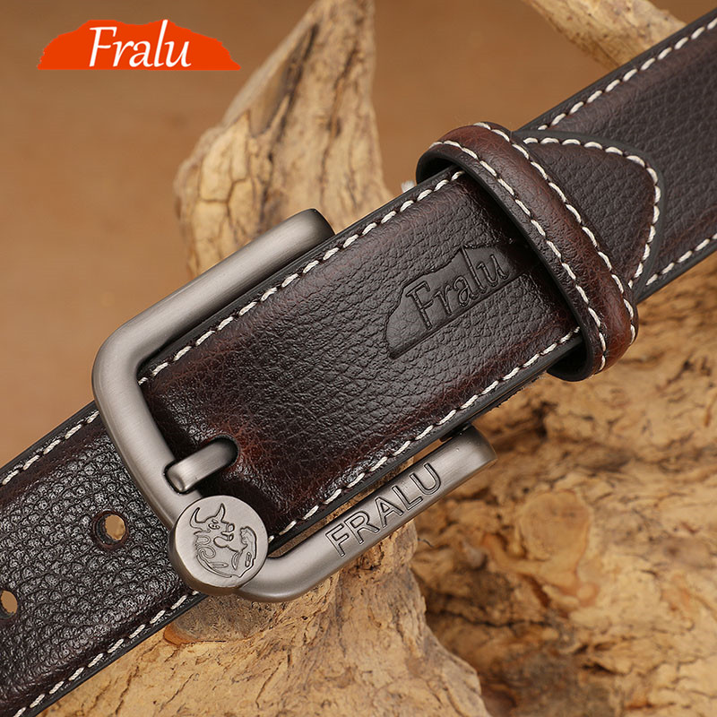FRALU 2019 Men Belt Cow Genuine Leather Luxury Strap Male Belts For Men New Fashion Classic Vintage Pin Buckle Dropshipping