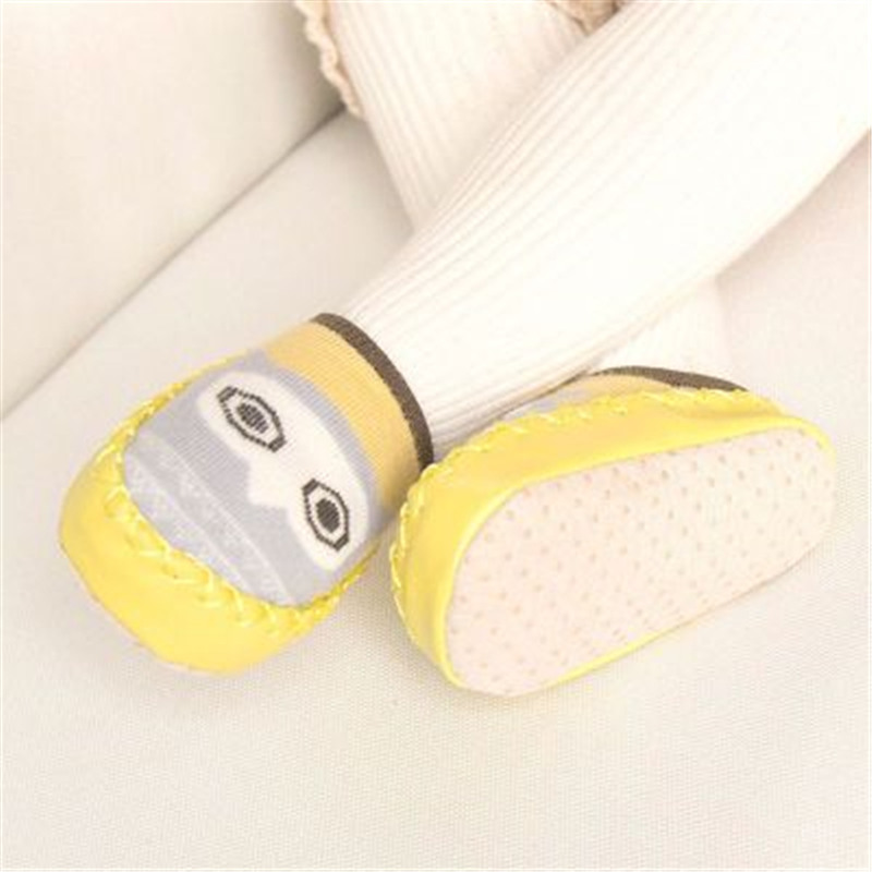 Baby Shoes Socks Infant Cartoon Indoor Floor Socks Leather Sole Non-Slip Thick Towel Shoe 3