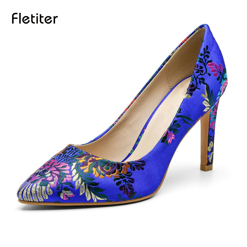 Fletite Top Quality Elegant Embroidery 8 color Women Pumps Pointed Toe Thin High Heels 2018 New Fashion Luxury Women Shoes Brand fletite top quality elegant embroidery 8 color women pumps pointed toe thin high heels 2018 new fashion luxury women shoes brand