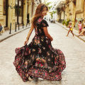 GTIME Summer Dress Women Vintage Ethnic Floral Print V neck Female Party Long Maxi Dress Casual vestido largo longue # ZKQA20