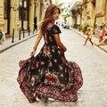 Gtime summer dress mujeres vintage étnico de la impresión floral con cuello en v partido femenino largo maxi dress casual vestido largo longue # ZKQA20