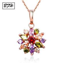 BFH Fashion Hot Sell Gold Flower Long Necklaces Pendants for Women Girl Birthday High Quality Cubic Zircon Necklace Jewelry Gift(China)