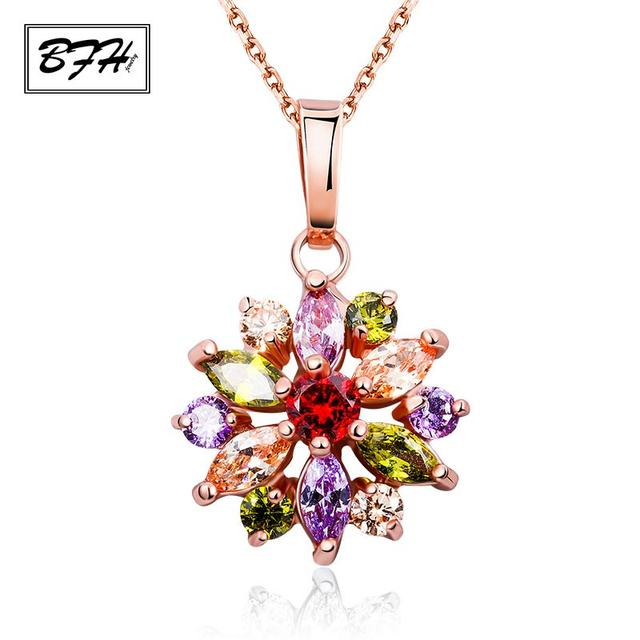 BFH Fashion Hot Sell Gold Flower Long Necklaces Pendants for Women Girl Birthday High Quality Cubic Zircon Necklace Jewelry Gift