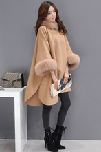 2017 winter new Korean version of the fox fur collar wool coat coats in the long section of female cloak(China)