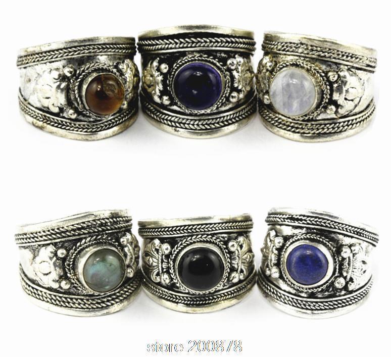 R003 Argent tibétain incrusté de diverses perles Bague Amulet Dorje, bague népalaise antique antique pour homme