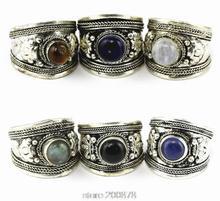 R003 Tibetan Silver inlaid Various Bead Dorje Amulet Ring,Nepal Original Antiqued Ring for Man