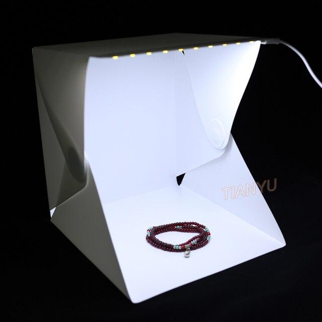 20*20cm 30*30cm 40*40cm Mini Folding Studio Diffuse Soft Box Lightbox With LED Light Black White Photography Background Photo 1