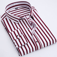 92cb99f161 Men s Striped Casual Long Sleeve Shirt Blue Red Comfortable Work Business  Casual Button Design 2018 Spring