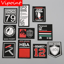 VIPOINT embroidery printed warning patches letter alphabet badges applique for clothing YM-48