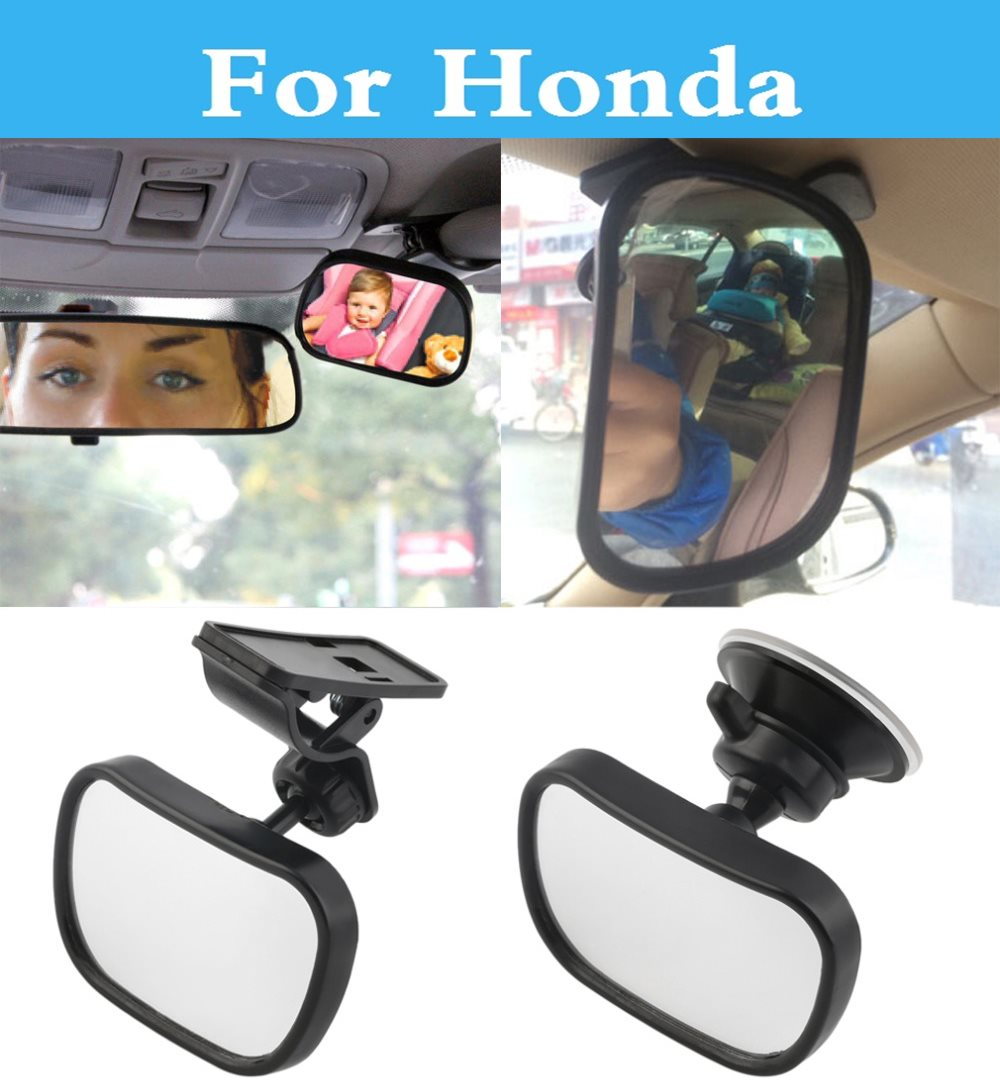 Black Car Rear Seat View Mirror Clip and Sucker Dual Mount For Honda FCX Clarity Fit Aria HR-V Insight Inspire Integra Jazz