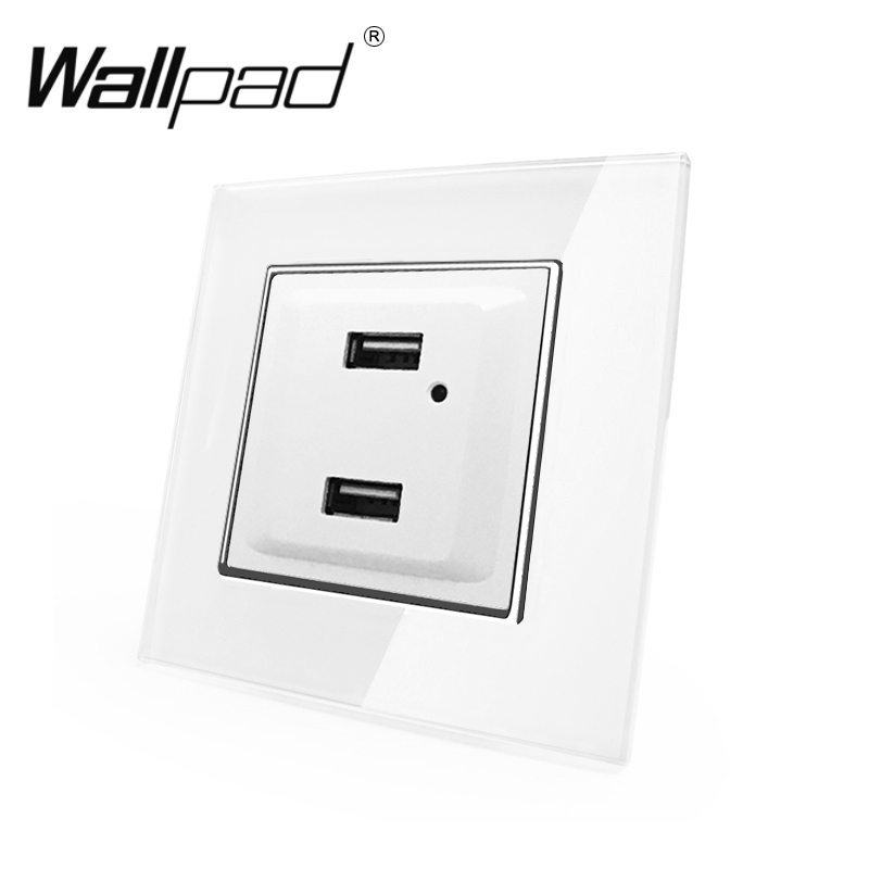 EU USB Socket with Claws Wallpad White Glass Panel LED Indicator EU Schuko Double USB Charging Ports Wall Power Socket with Clip