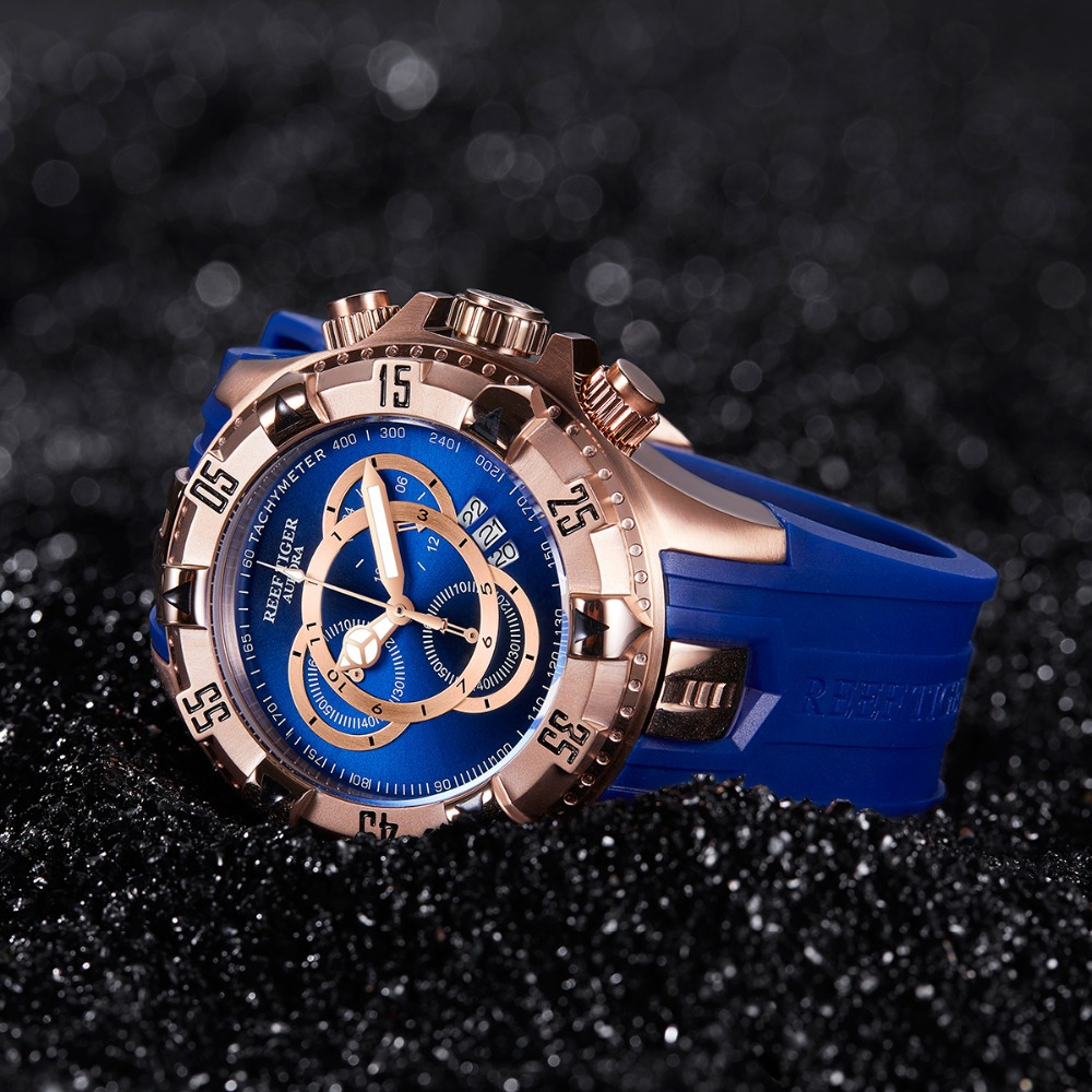 Nuevo tigre de arrecife/RT todos los relojes deportivos de moda azul Reloj de oro rosa para hombre cronógrafo de fecha grande hombre RGA303 2 - 4